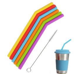 1/3Pcs Reusable Silicone Drinking Straws Set Extra Long Flex