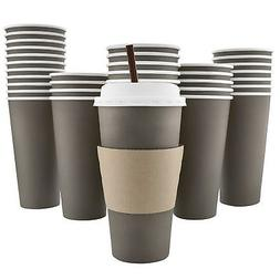 100 Pack - 20 Oz  Disposable Hot Paper Coffee Cups, Lids, Sl