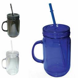 100% BPA Free Mason Jar Cup Sports Bottle W/Straw Double Wal