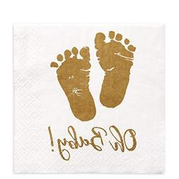 100 Baby Shower Napkins Oh Baby Beverage Napkins 3-Ply Gold