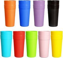 12 Pack 20 oz Plastic Tumblers, Cafe Break-Resistant Drinkin