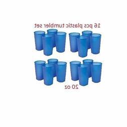 16 pcs Hard Plastic Drinking Tumbler Set 20 oz. Water Soda P