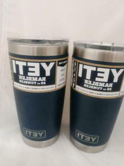2 authentic 20oz tumblers both navy stainless