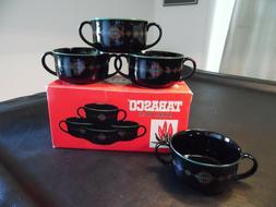 TABASCO 2 Handle Ceramic Gumbo Soup Bowls Complete Set of 4