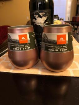 2 Ozark Trail Rose Stainless Steel Wine Glasses Vacuum Insul