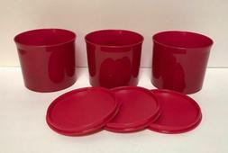 TUPPERWARE 20 oz CANISTERS Bowls Red Set 3 *New*