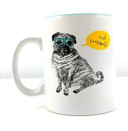 """Fringe Studio 20 oz Ceramic Mug Pug """"Hey Georgeous"""" White"""
