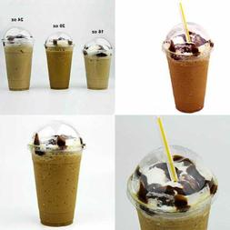 20 Oz Clear Plastic Cup W Dome Lid For Iced Cold Drink Coffe