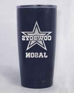 YETI   20 oz Dallas Cowboys   laser engraved navy pink black