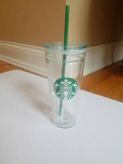 STARBUCKS 20 oz. Double-Wall Cold Cup Glass Tumbler-NWOT