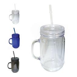 NuFazes 20 Oz Mason Jar Doubled wall Acrylic Cup with Straw