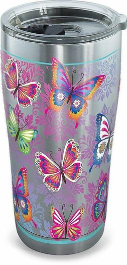 Tervis 20 oz. Stainless Steel Butterfly Tumbler 20 Oz. Pink/