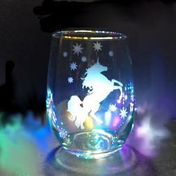20 oz Unicorn etched Stemless Wine Glass-Magical Unicorn-Gif