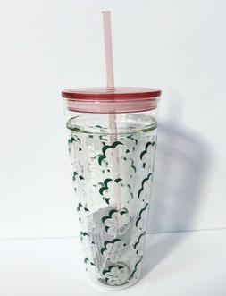 Starbucks 2018 Clear Glass Floral Double Wall Cold Cup Tumbl