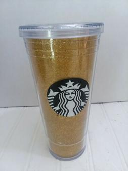 Starbucks 2018 Holiday Travel Tumbler Cup Gold Glitter Spark