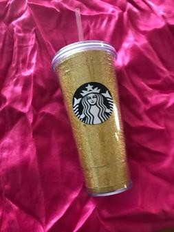 Starbucks 2018 Holiday Travel Tumbler Cup Straw Gold Glitter