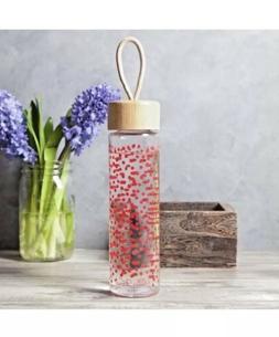 Pioneer Woman 20oz. Glass Water Bottle-Clear w/ Red PolkaDot