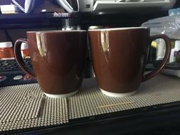 20oz  Leather Brown Bistro Ceramic Coffee Mug Microwave & Di