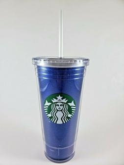 Starbucks 20oz Plastic To Go Tumbler Sparkle Glitter Blue