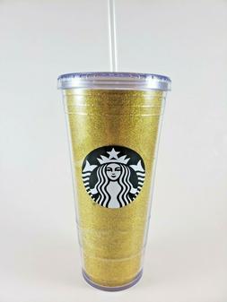 Starbucks 20oz Plastic To Go Tumbler Sparkle Glitter Gold