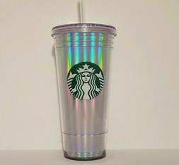 Starbucks 20oz Rainbow Iridescent Holographic Tumbler 2018 C