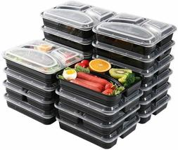 20Pcs - 3 Compartment Meal Prep Containers Lunch Box with Li
