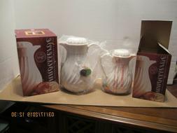 2pc Hormel Beverage Serving Carafes White NIB Plastic Fluted