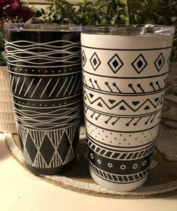 2x Stainless Steel 20oz Black/White Tribal Pattern Tumblers