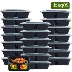NutriBox  20 OZ 3 compartment Meal Prep Plastic Food Storage