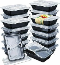 Enther 36oz Meal Prep Containers 20 Pack 3 Compartment with