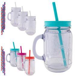 3pk Aladdin 20oz Plastic Mason Jar Tumbler With Straw and Li