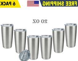 6 Pack 20OZ Stainless Steel Tumbler Slider Lid Double Wall V