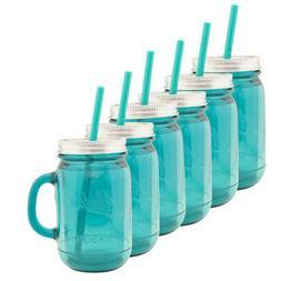 6pk Aladdin 20oz Plastic Mason Jar Tumbler With Straw and Li