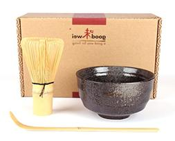 Japanese Matcha Tea Ceremony Set - Ceramic Bowl with Bamboo