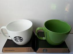 A Pair of Starbucks 2015 Coffee Company Avocado Green & Whit