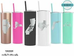 ANY STATE cup, Personalized Engraved Skinny 20 oz Tumbler, S