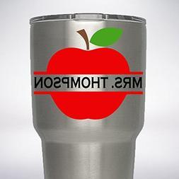 Apple Teacher Split Initial Monogram Name Decal for 20oz 30o