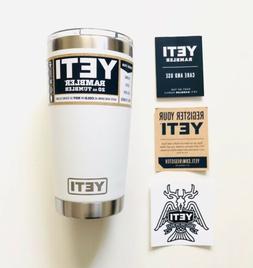 Authentic YETI 20 oz Tumbler + Magslider Lid - White - Free