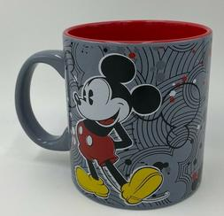 Authentic Disney Mickey Mouse 20oz Coffee Mug, Gray & Red