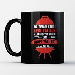BBQ Coffee Mug - Rub My Beef - Funny 11 oz Black Ceramic Tea