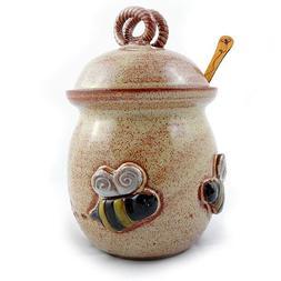 Bee 20-ounce Stoneware Honey Pot Pottery Jar with Cherry Woo