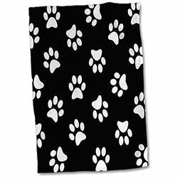 3dRose Black and White Paw Print Pattern-Pawprints-Cute Cart