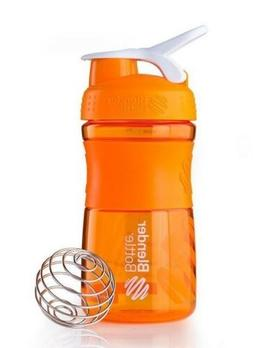 BlenderBottle SportMixer Tritan Grip Shaker Bottle, Orange/W