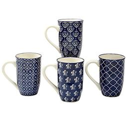 Certified International Blue Indigo Latte Mugs 20oz, Set of