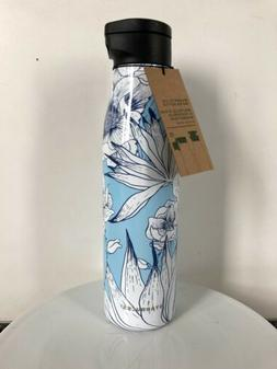 cactus flower blue water bottle magnetic lid
