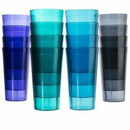 16 Plastic Drinking Tumbler Set Glasses Water Soda Pop Ice T