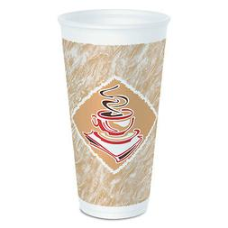 Dart Cafe G Foam Hot/Cold Cups, 20 oz, Brown/Red/White, 20/P