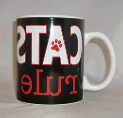 Cats Rule Coffee Mug Cup Large 20 oz Black Paw Print Red Cer