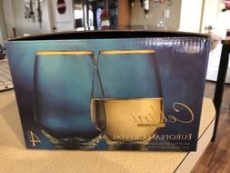 Cellini Clear Elegant Drinkware Glassware Set of 4 Wine Glas