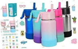 CHILLOUT LIFE 12 oz Insulated Water Bottle with Straw Lid fo